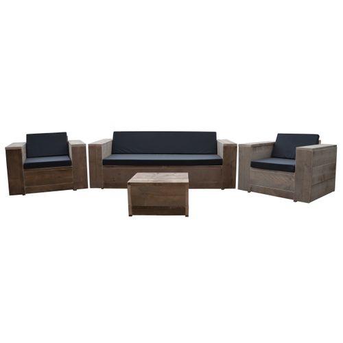 Wood4you loungeset Four bruin steigerhout
