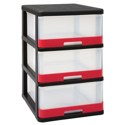 Allibert opbergtoren 'Hercule' zwart-rood 3x25L
