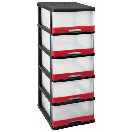 Allibert opbergtoren 'Hercule' zwart-rood 5x25L