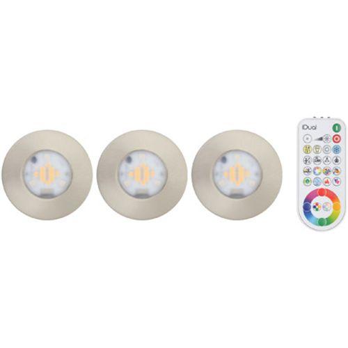 iDual Performa LED badkamer inbouwspot 3 stuks dimbaar alu rond geborsteld metaal inclusief afstandsbediening