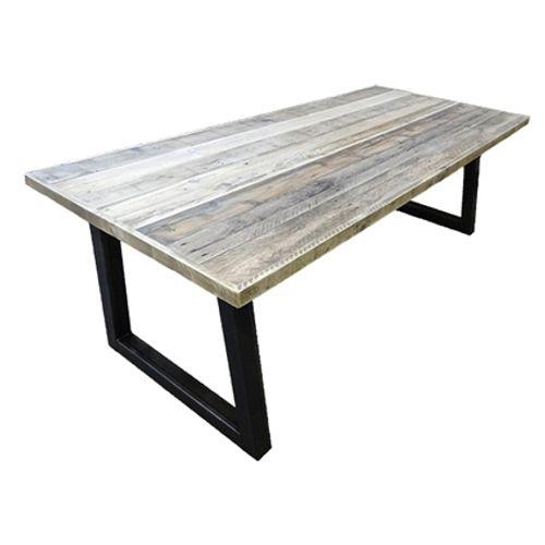 Tafel met sloophout grenen blad en stalen trapezium onderstel 1,80m