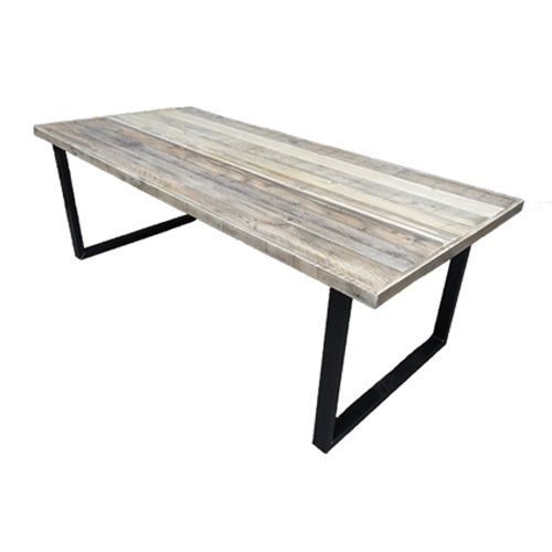 Tafel met sloophout grenen blad en u-onderstel 1,80m