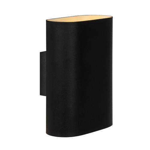 Lucide ovalis wandlamp zwart 2x9w
