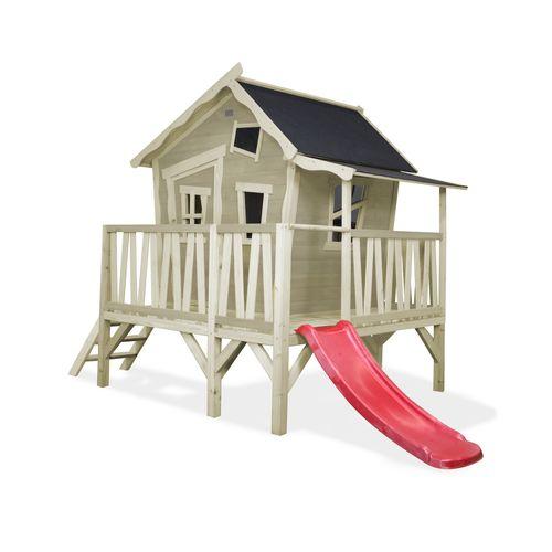 EXIT Crooky 350 houten speelhuis grijs-beige