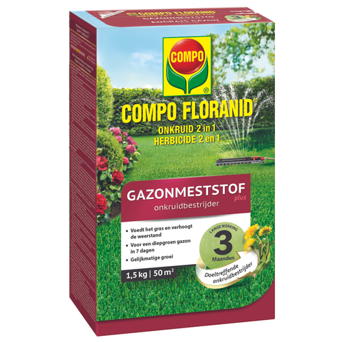 Compo gazonmeststof Floranid plus onkruidbestrijder 50m² 1,5kg
