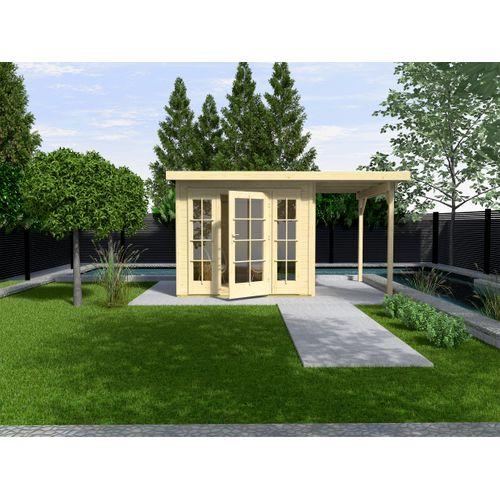 Weka tuinhuis met overkapping 172 Type B GR1 1D2R 239x530cm