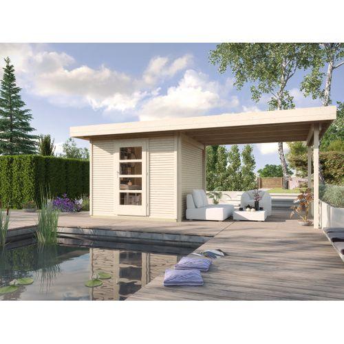 Weka designhuis 172B GR.3 met aanbouw 310cm naturel 590x300cm
