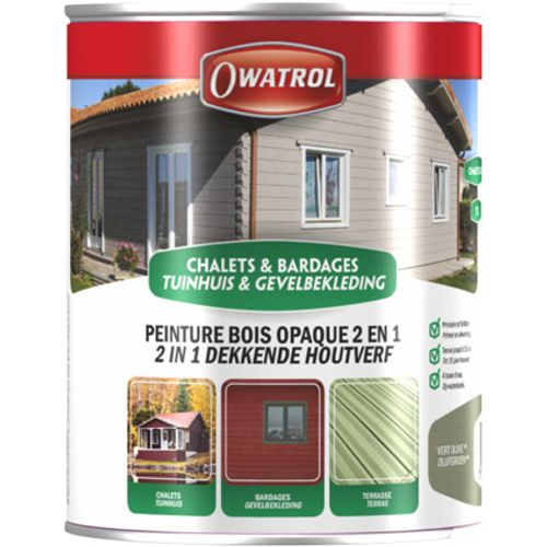 Owatrol beits tuinhuis '2 in 1' chocolat 1L
