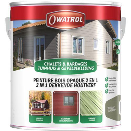 Lasure bois chalet Owatrol '2 en 1' olive 2,5L