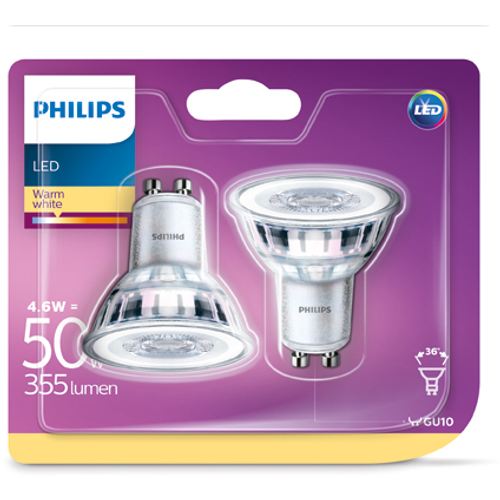 Philips LED-spot 4,6W GU10