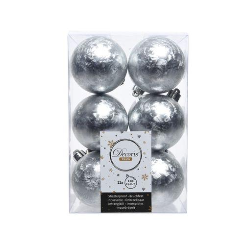 Boules de Noël plastique argent 6cm 12pcs