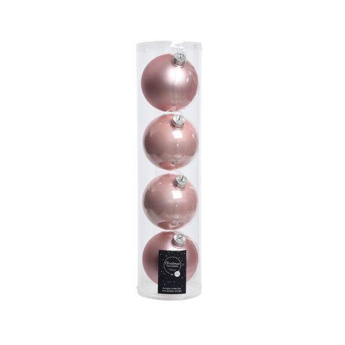 Boules Noël Decoris verre rose 10cm 4pcs