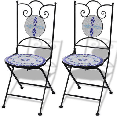 VidaXL mozaïekstoel bistro set blauw/wit