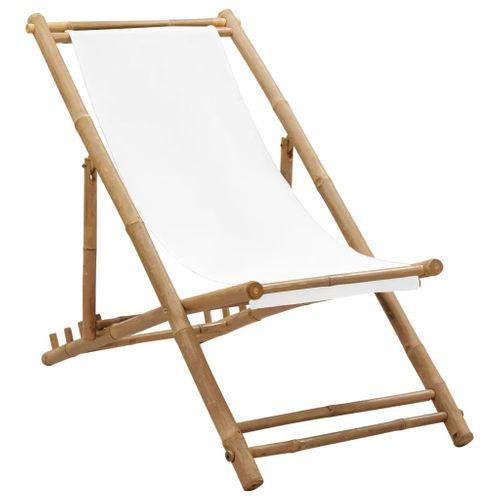VidaXL inklapbare bamboe stoel met canvas
