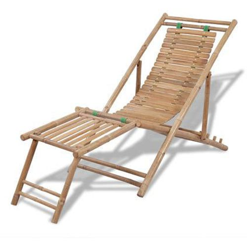 VidaXL bamboe ligstoel met voetensteun