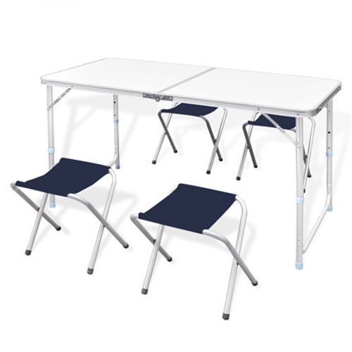 Campingtafel inklapbaar en verstelbaar in hoogte aluminium 120 x 60 cm inclusief vier stoelen