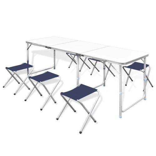 Campingtafel inklapbaar en verstelbaar in hoogte aluminium 180 x 60 cm inclusief zes stoelen