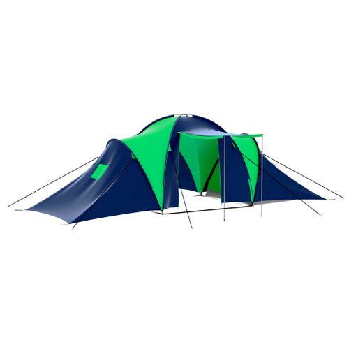 Polyester 9-persoons kampeertent blauw/groen
