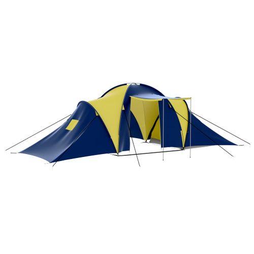 Polyester 9-persoons kampeertent blauw/geel