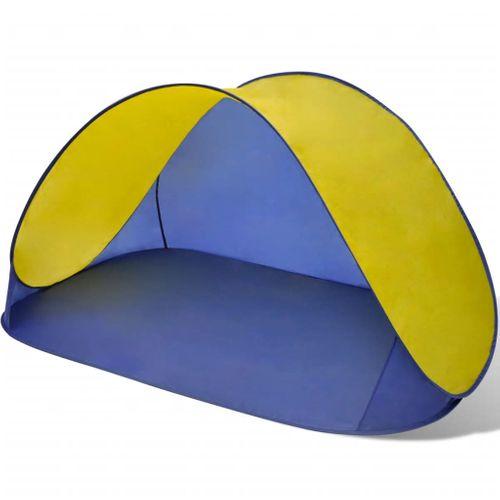 Opvouwbare strandtent waterafstotend en met UV bescherming geel