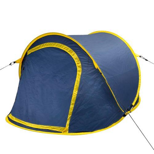Pop-up tent 2 personen marineblauw / geel