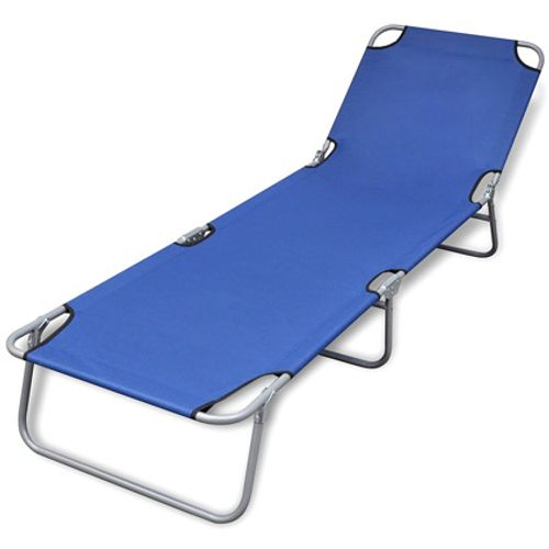 VidaXL ligstoel inklapbaar met verstelbare rugleuning blauw