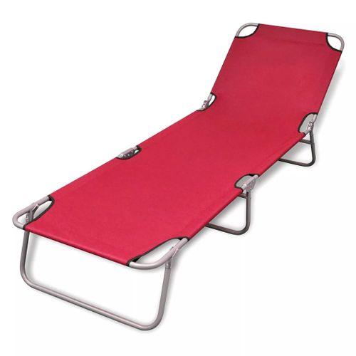 VidaXL ligstoel inklapbaar met verstelbare rugleuning rood