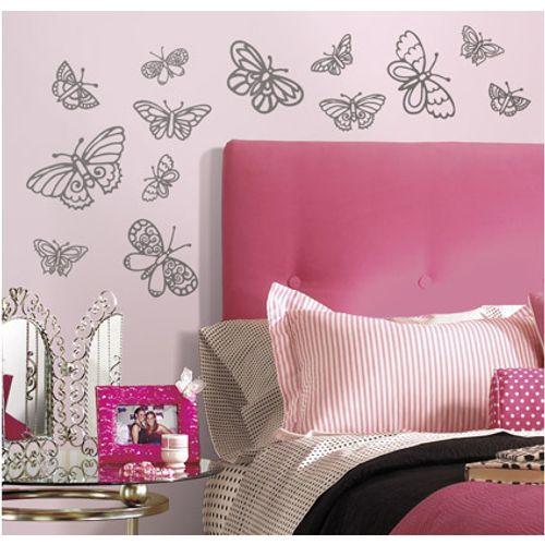 RoomMates muursticker Glitter Butterflies