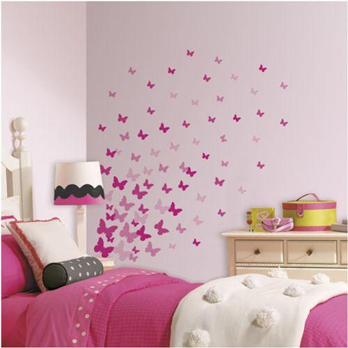 RoomMates muursticker Pink Flutter Butterflies