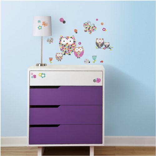RoomMates muursticker Prisma-Owls& Butterflies
