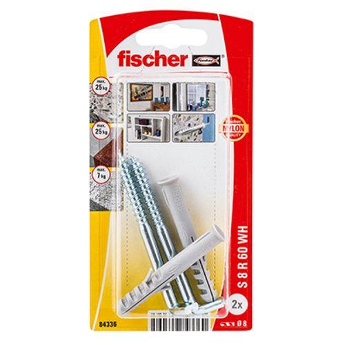 Cheville de construction Fischer 'SXR' avec crochet droit 60 x 8 mm - 2 pcs