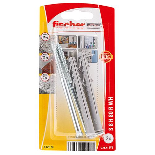 Fischer constructieplug 'S8 H80' met winkelhaak 80 x 8 mm - 2 stuks