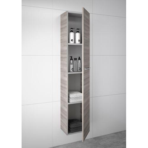 Colonne Royo 1 porte Level bois chêne gris 30x140cm