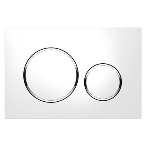 Plaque de commande Geberit Sigma20 2 touches blanc chromé 16,4x24,6cm