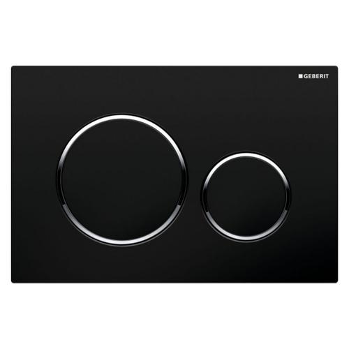 Plaque de commande Geberit Sigma20 2 touches noir chromé 16,4x24,6cm