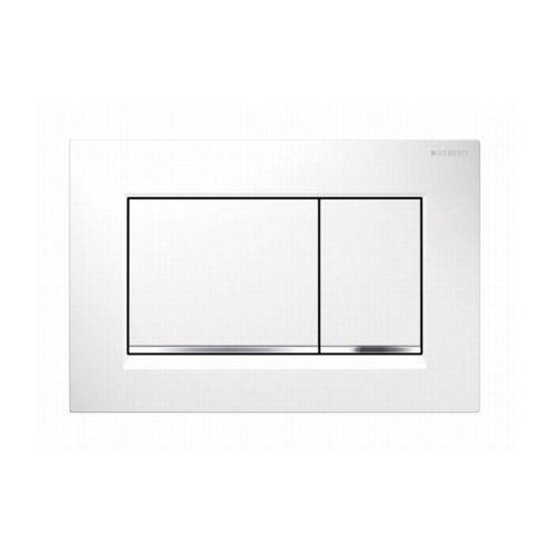 Plaque de commande Geberit Sigma30 2 touches blanc chromé 16,4x24,6cm