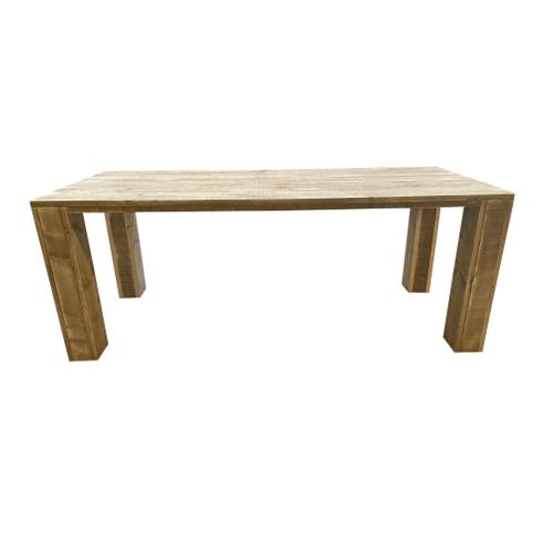 Wood4You tafel blokpoot steigerhout bruin 220x72cm