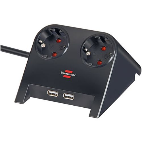 Brennenstuhl stekkerdoos desktop-power 2-voudig + 2x USB-charger 2100mA zwart 1,8m H05VV-F 3G1,5