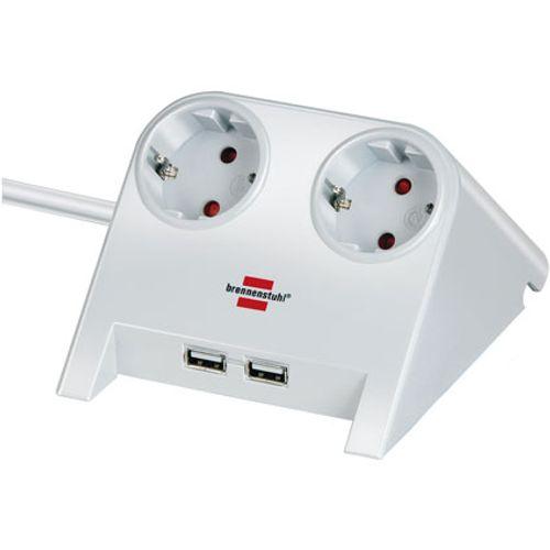 Brennenstuhl stekkerdoos desktop-power 2-voudig + 2x USB-charger 2100mA wit 1,8m H05VV-F 3G1,5