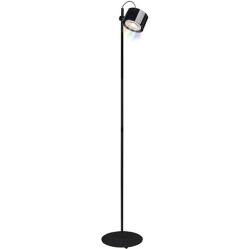 iDual Jasmine LED vloerlamp staand glanzend zwart dimbaar met afstandsbediening