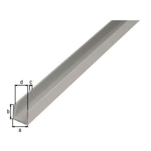 Profilé U GAH Alberts aluminium gris 1 m x 1 cm