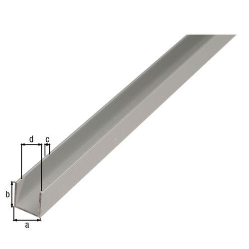 GAH Alberts U-profiel aluminium zilverkleurig geëloxeerd oppervlak 22x10x1,5mm 2m