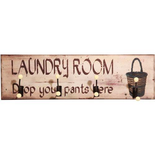 Best Home Products wandkapstok Laundry hout 4 haken