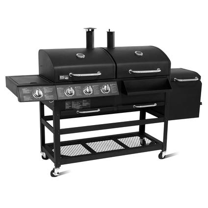 Barbecue au gaz et charbon 'Grand Brandon' acier émaillé 13kW