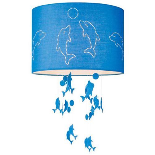 Abat-jour Home Sweet Home 'Dolphins' bleu Ø 30 cm
