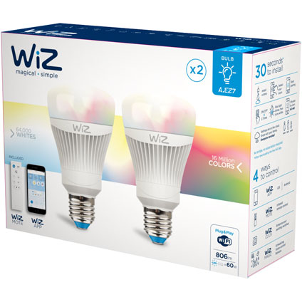 WiZ colors A E27 - 2-pack - 806lm - inclusief WiZmote