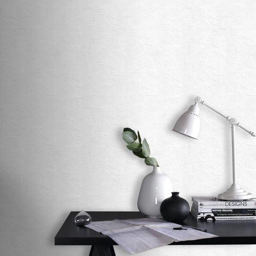 Sencys overschilderbaar vliesbehang Plaster wit