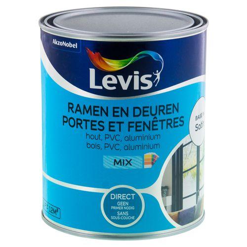 Peinture Levis Portes et Fenêtres mix base W satin 1L