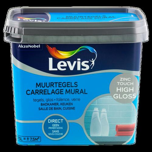 Peinture Levis 'Carrelage Mural' High Gloss Zinc Touch 750ml
