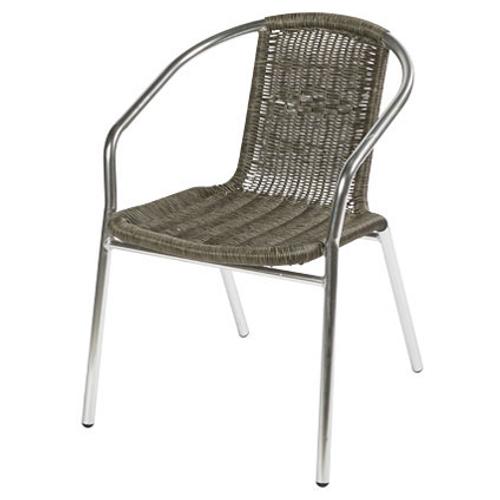 Chaise bistro Central Park 'Katy' aluminium / osier gris 55 x 73 cm